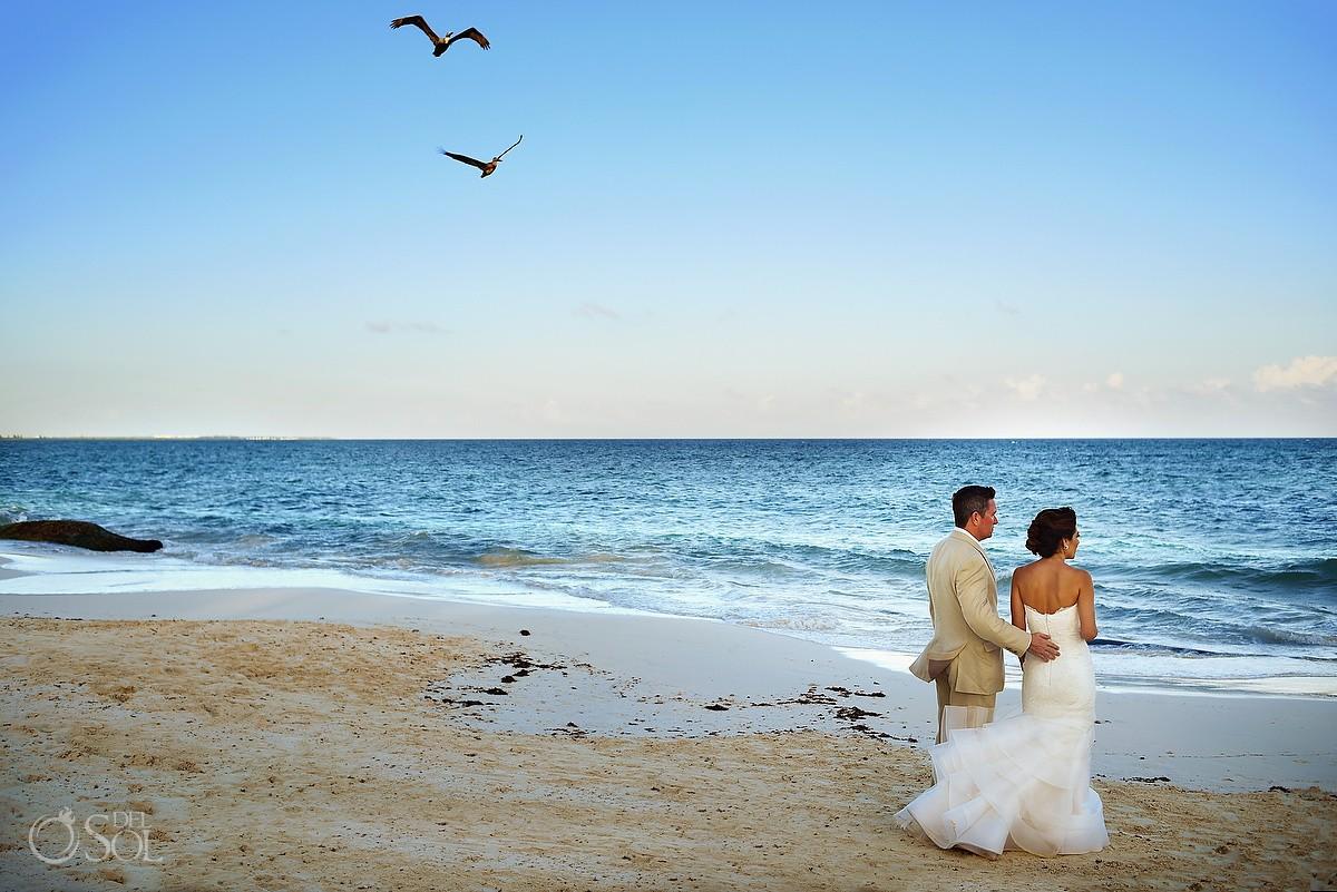 bride groom walking beah birds flying, Gazebo Wedding Banyan Tree Mayakoba, Playa del Carmen, Mexico