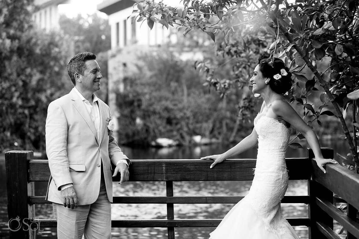 Wedding portrait black white, Gazebo Wedding Banyan Tree Mayakoba, Playa del Carmen, Mexico
