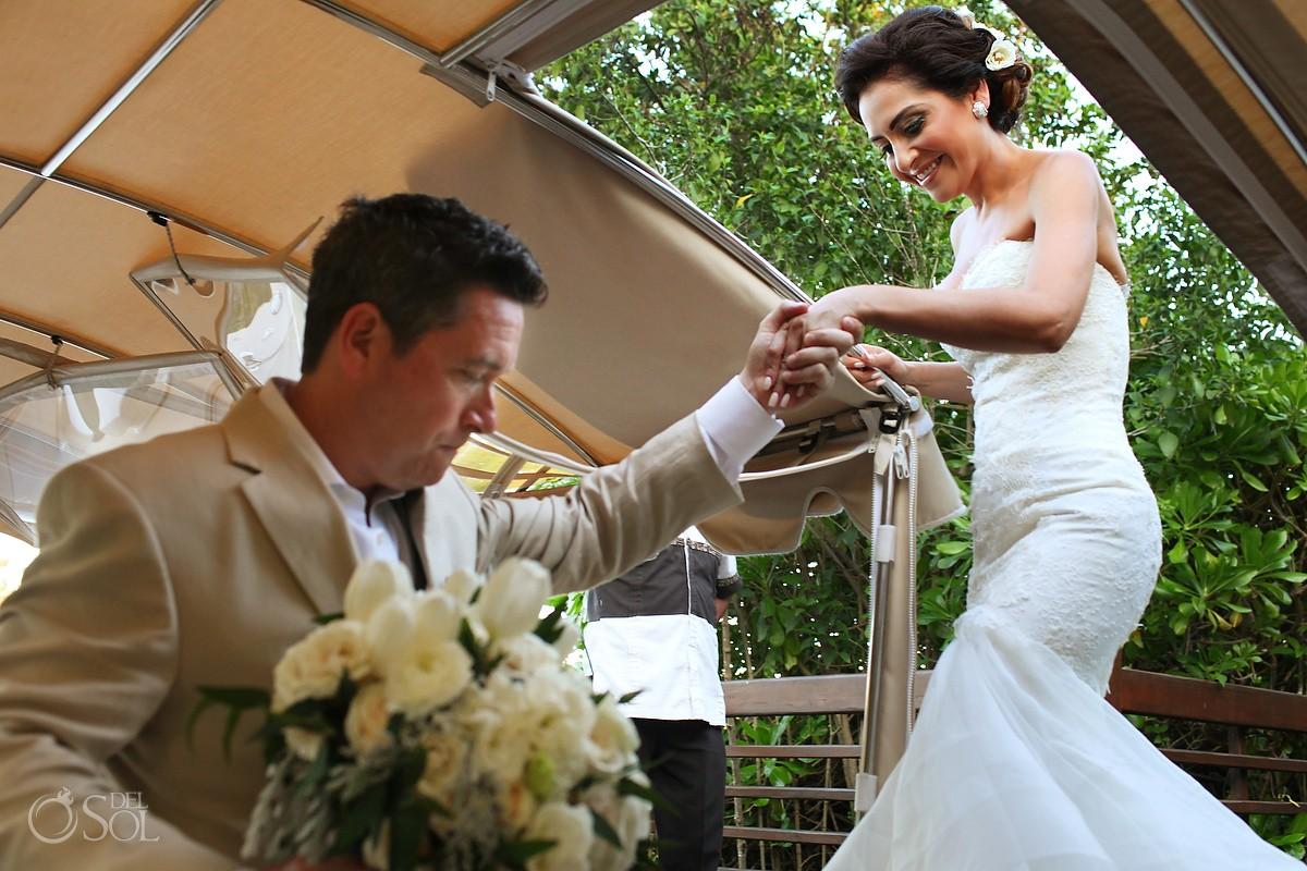 bride groom boarding boat canal, Wedding Banyan Tree Mayakoba, Playa del Carmen, Mexico