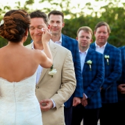 bride wipes groom's tears kleenex, Gazebo Wedding Banyan Tree Mayakoba, Riviera Maya, Mexico