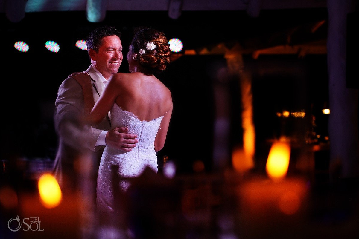 first dance, Wedding reception MK Blue, Banyan Tree Mayakoba, Riviera Maya, Mexico