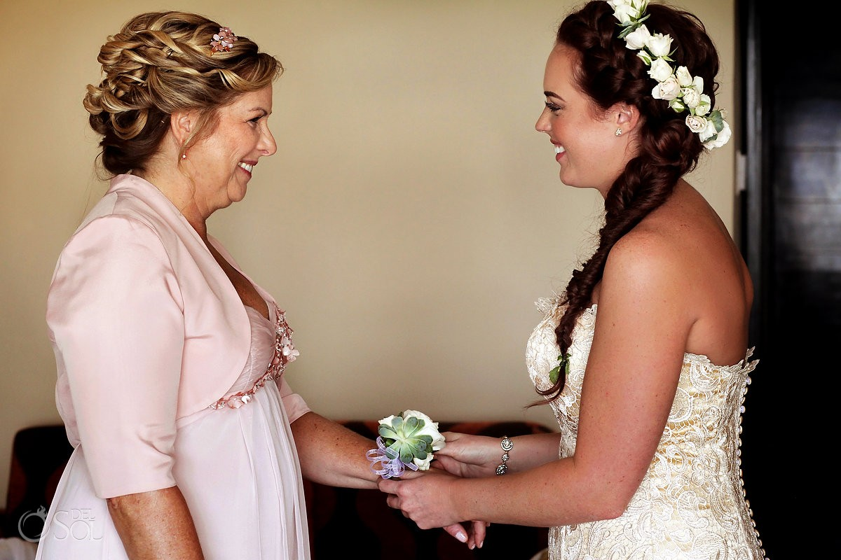 bride mother corsage getting ready family love, Dreams Puerto Aventuras Gazebo Wedding