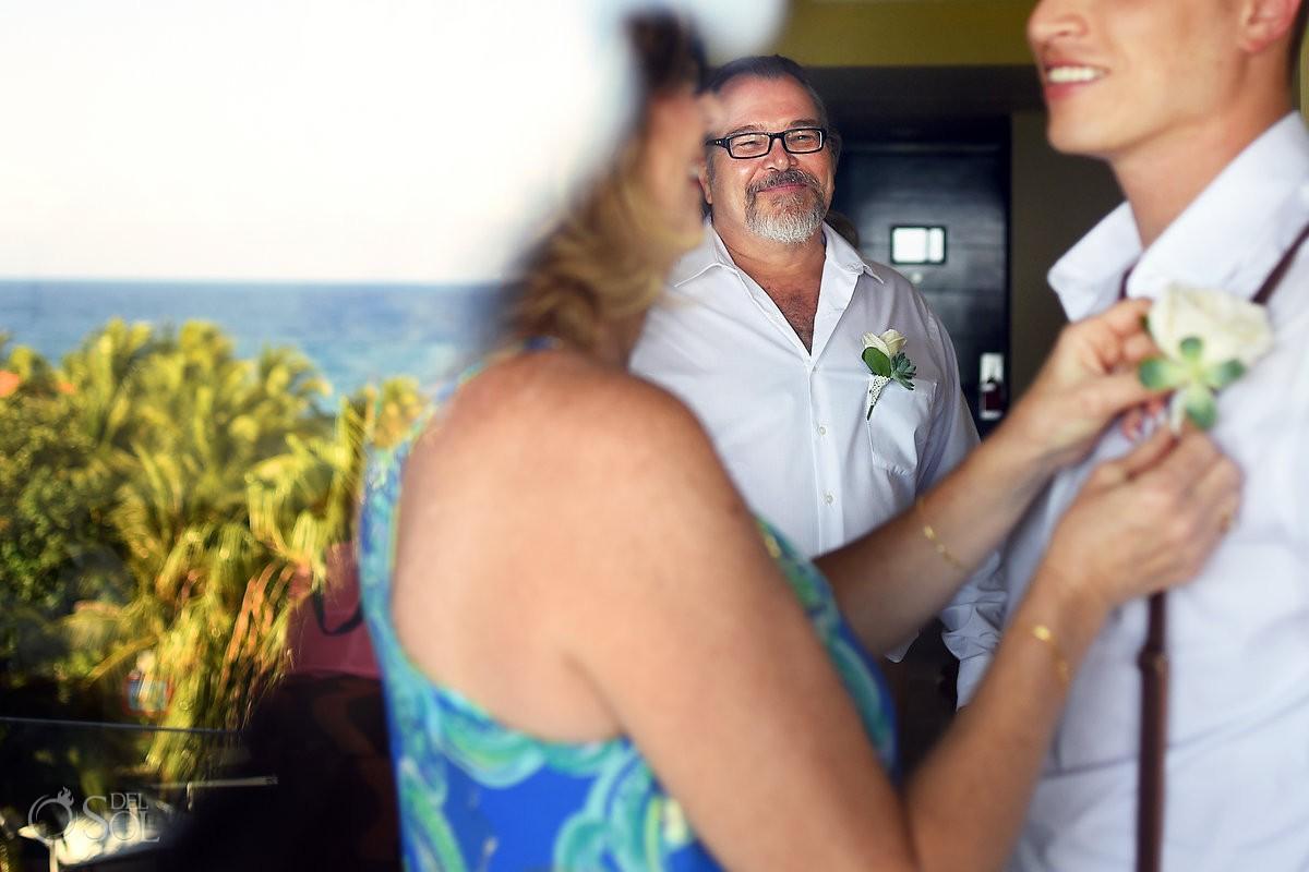 groom getting ready father smile artistic reflection, Dreams Puerto Aventuras Gazebo Wedding