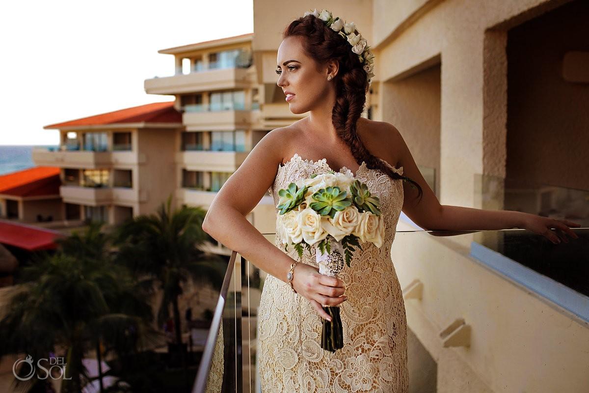 Bridal portrait bohemian flower crown bouquet neutral color blush, Dreams Puerto Aventuras Gazebo Wedding