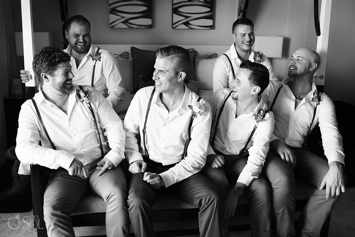 groom groomsmen getting ready candid portrait monochrome black white, Dreams Puerto Aventuras Gazebo Wedding
