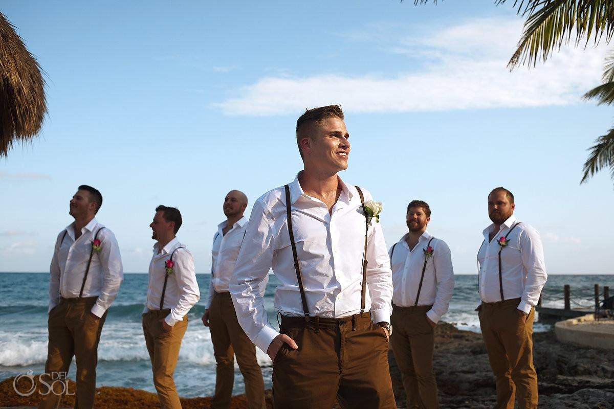 creative light shadow groom groomsmen portrait blue sky Caribbean ocean, Dreams Puerto Aventuras Gazebo Wedding