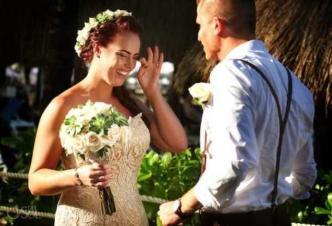 first look bride cry tear emotional, Dreams Puerto Aventuras Gazebo Wedding