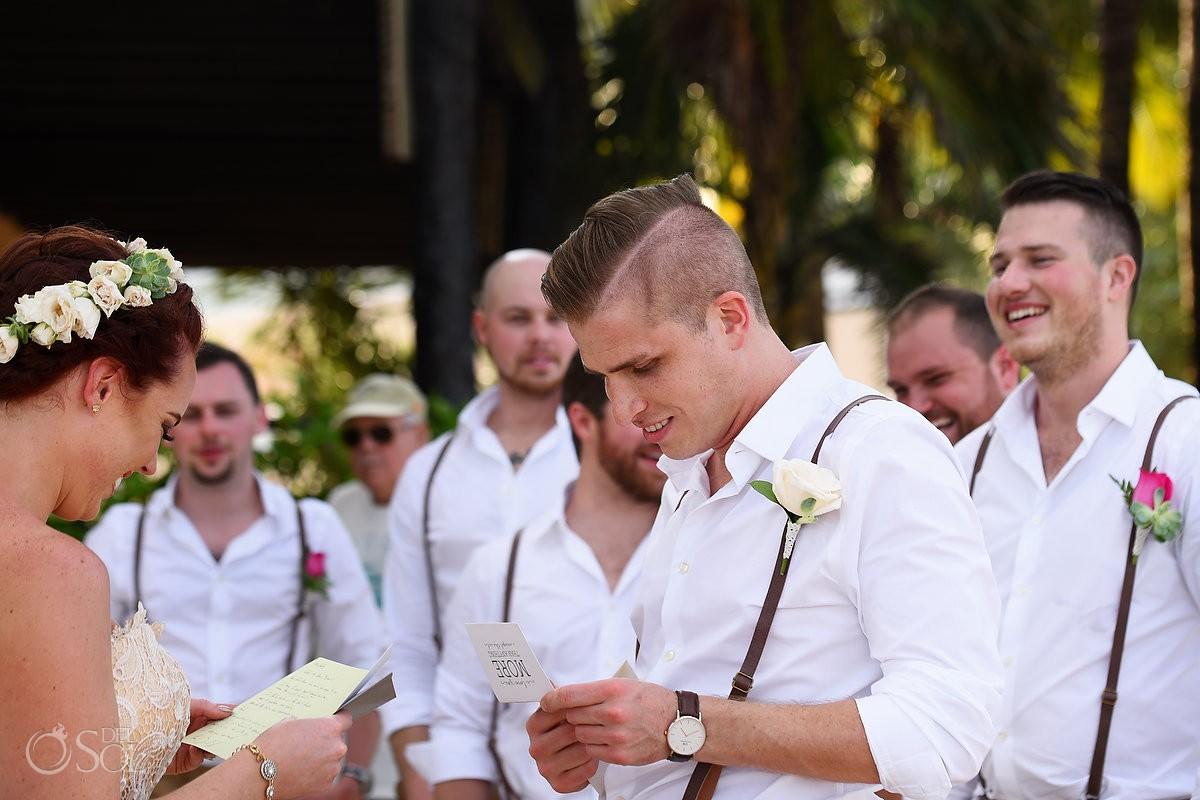 bride groom reading wedding day note love letter Dreams Puerto Aventuras Gazebo Wedding, Riviera Maya