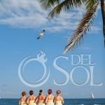 Bride bridesmaids in front of blue carribean ocean sky palm tree bird flying Dreams Puerto Aventuras Weddings