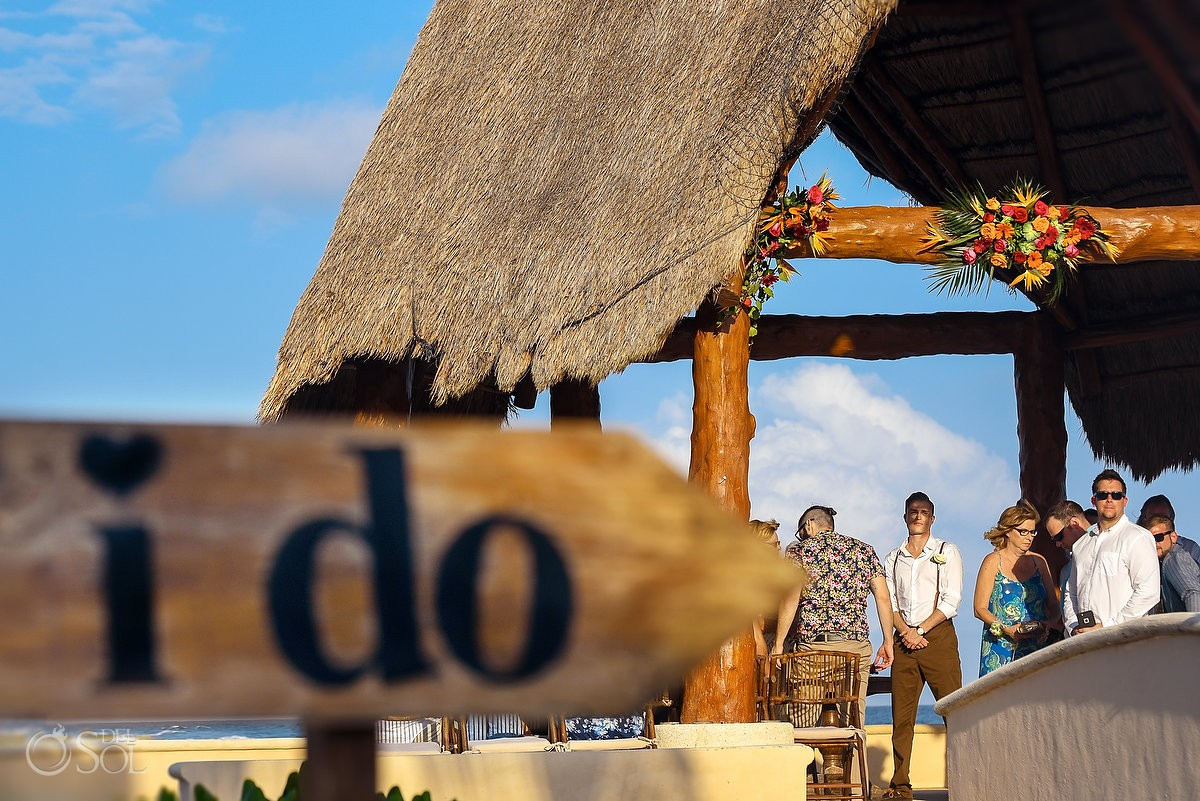 creative wedding photo, groom next to I do sign, Dreams Puerto Aventuras Gazebo Wedding