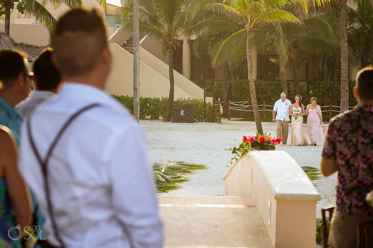 entrance presentation bride mom dad beautiful light, Dreams Puerto Aventuras Gazebo Wedding