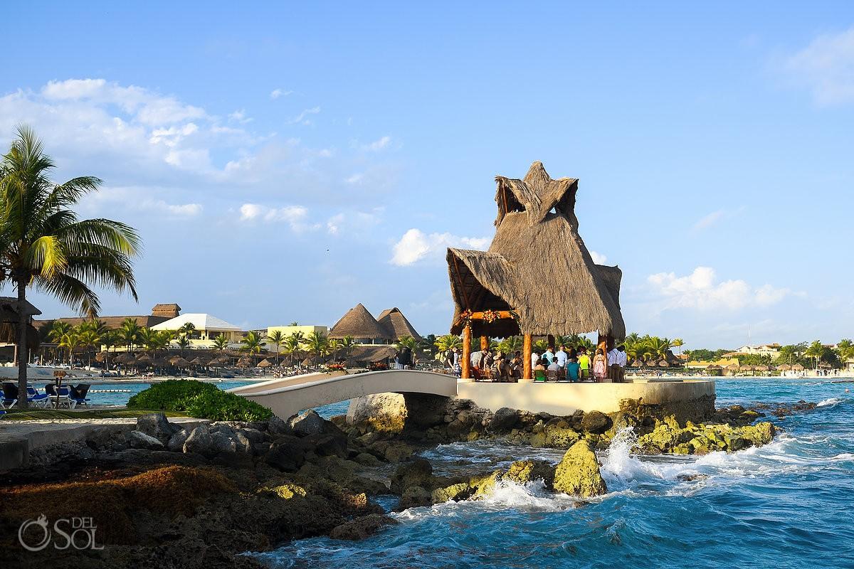 Dreams Puerto Aventuras Gazebo Wedding, unique wedding ceremony venue, waves Caribbean blue sky