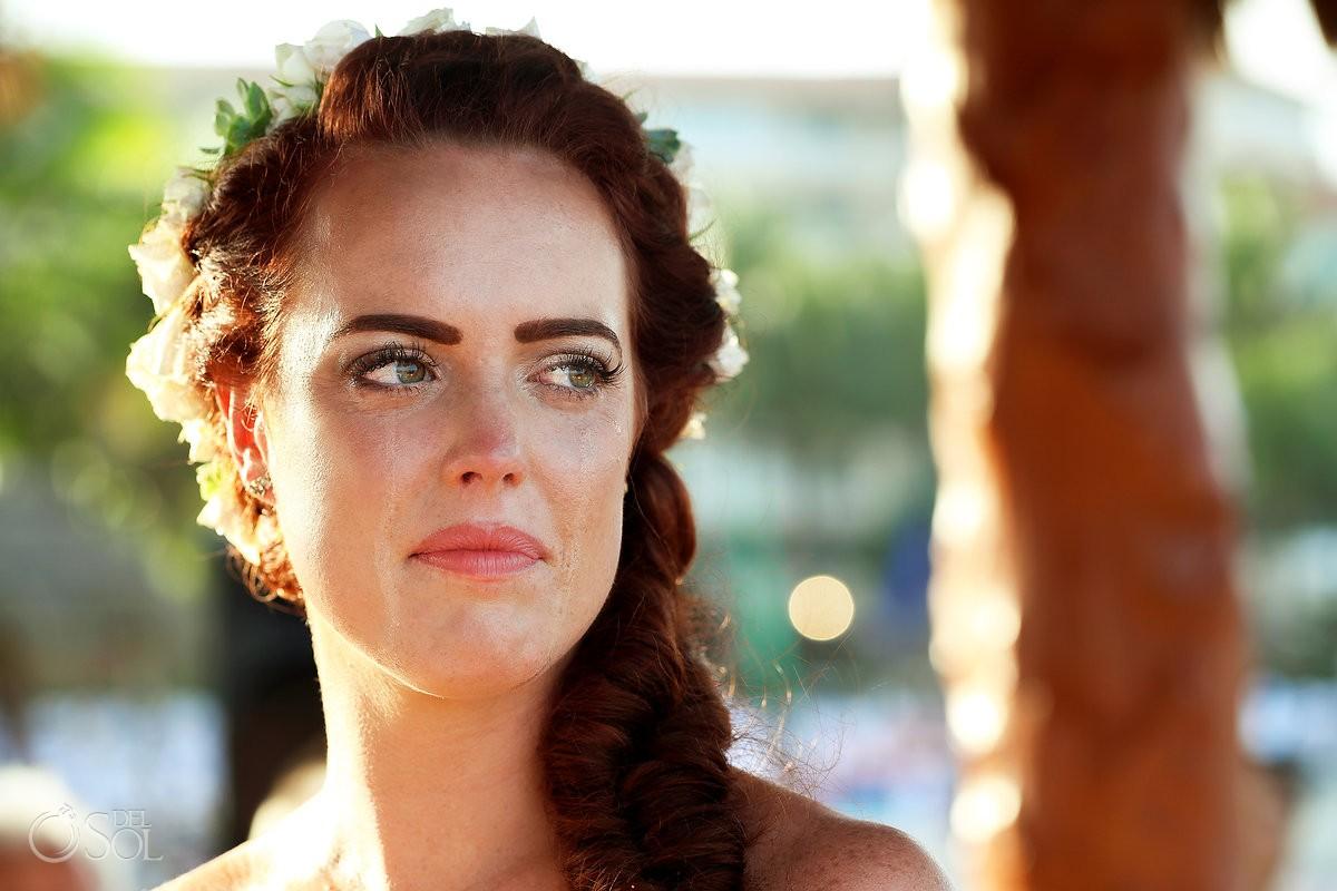 beautiful bride crying tears, emotion, Dreams Puerto Aventuras Gazebo Wedding
