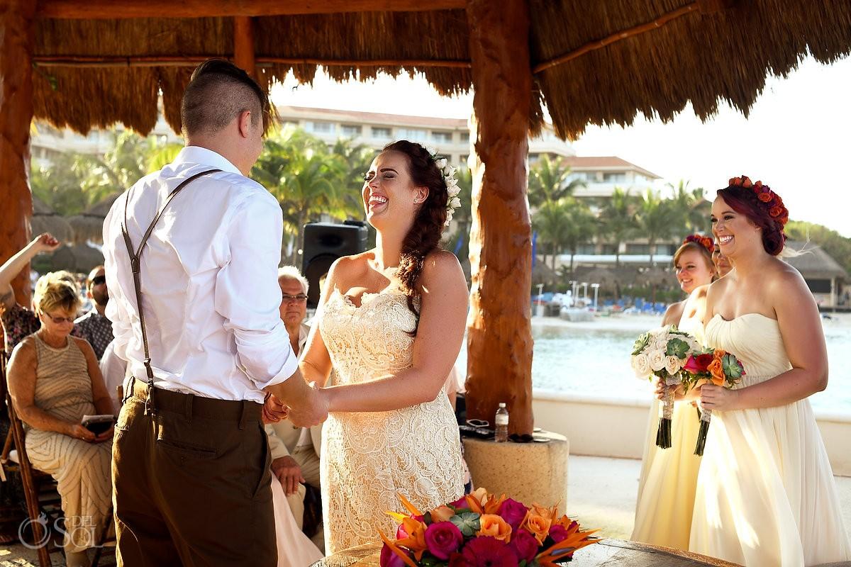 bride laugh happy wedding ceremony, Dreams Puerto Aventuras Gazebo, Riviera Maya, Mexico