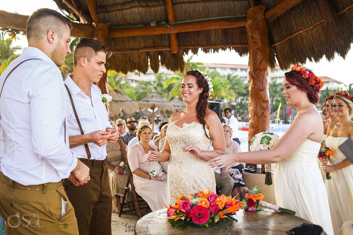 happy wedding ceremony picture Dreams Puerto Aventuras Gazebo Wedding