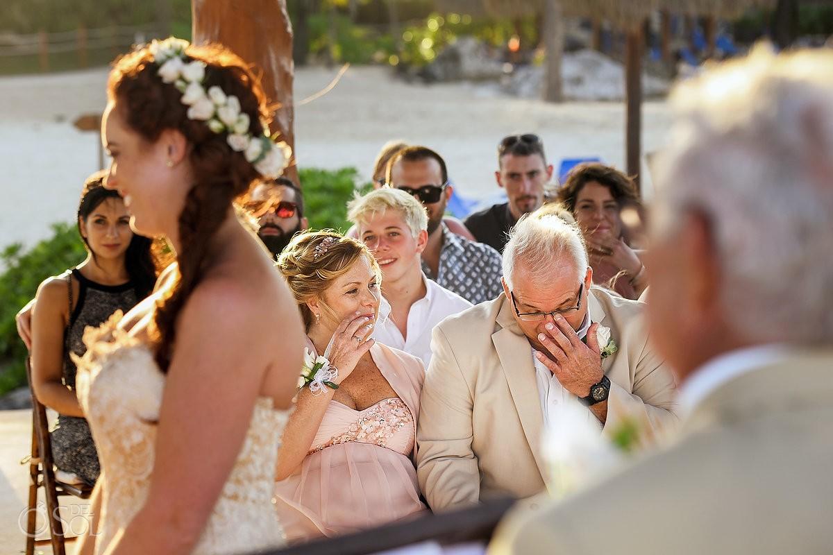 bride father mother crying emotional family love, Dreams Puerto Aventuras Gazebo Wedding