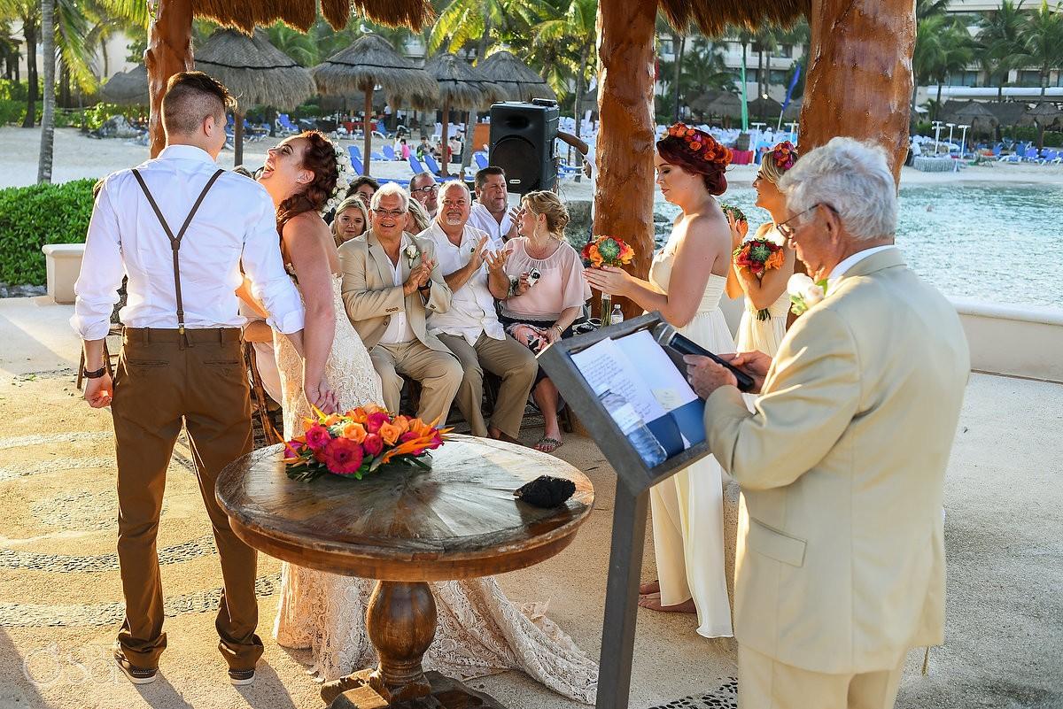 first kiss bride laugh happy, Dreams Puerto Aventuras Gazebo Wedding, Riviera maya, mexico