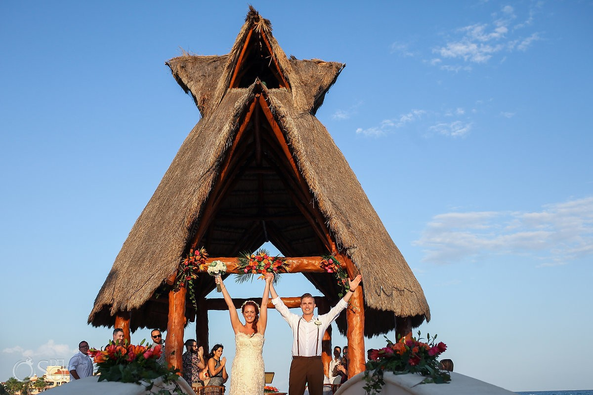 Bride and groom just married Dreams Puerto Aventuras gazebo weddings Riviera Maya Mexico