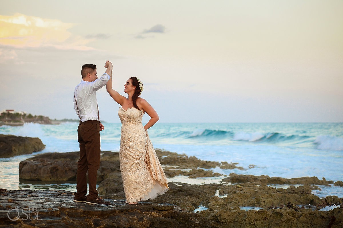 happy wedding portrait dancing rocks sunset golden hour, Dreams Puerto Aventuras, Riviera maya, Mexico