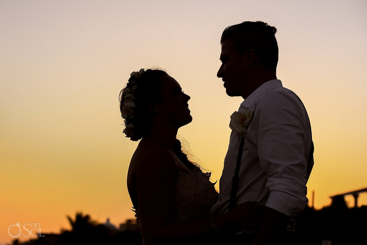 wedding portrait sunset silhouette, Dreams Puerto Aventuras Gazebo Wedding