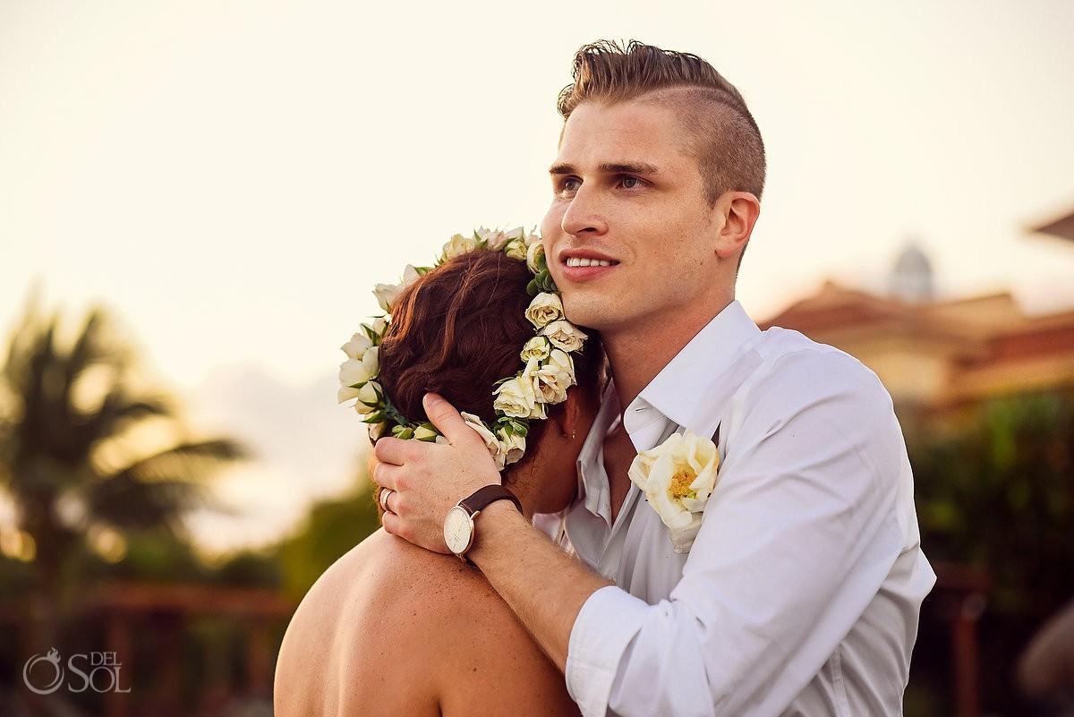wedding portrait golden hour sunset, Dreams Puerto Aventuras Gazebo Wedding