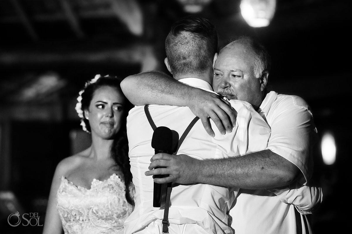wedding reception family love, black white monochrome dad son hug speeches, Dreams Puerto Aventuras El Patio restaurant