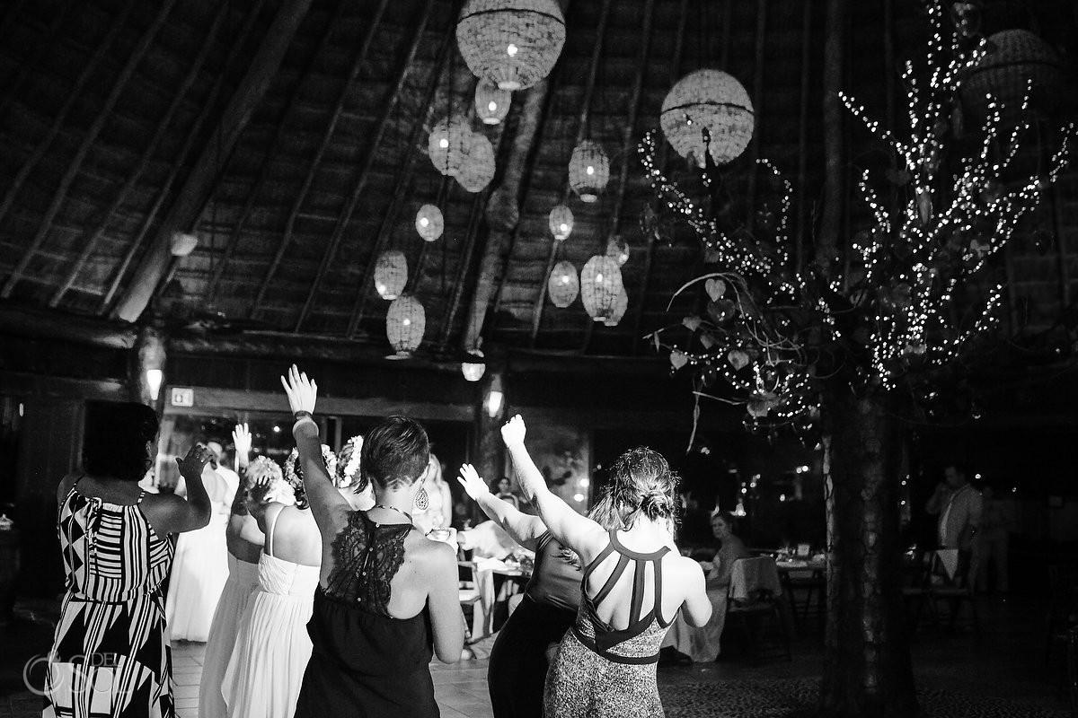 black white monochrome dancing Dreams Puerto Aventuras El Patio restaurant dinner wedding reception