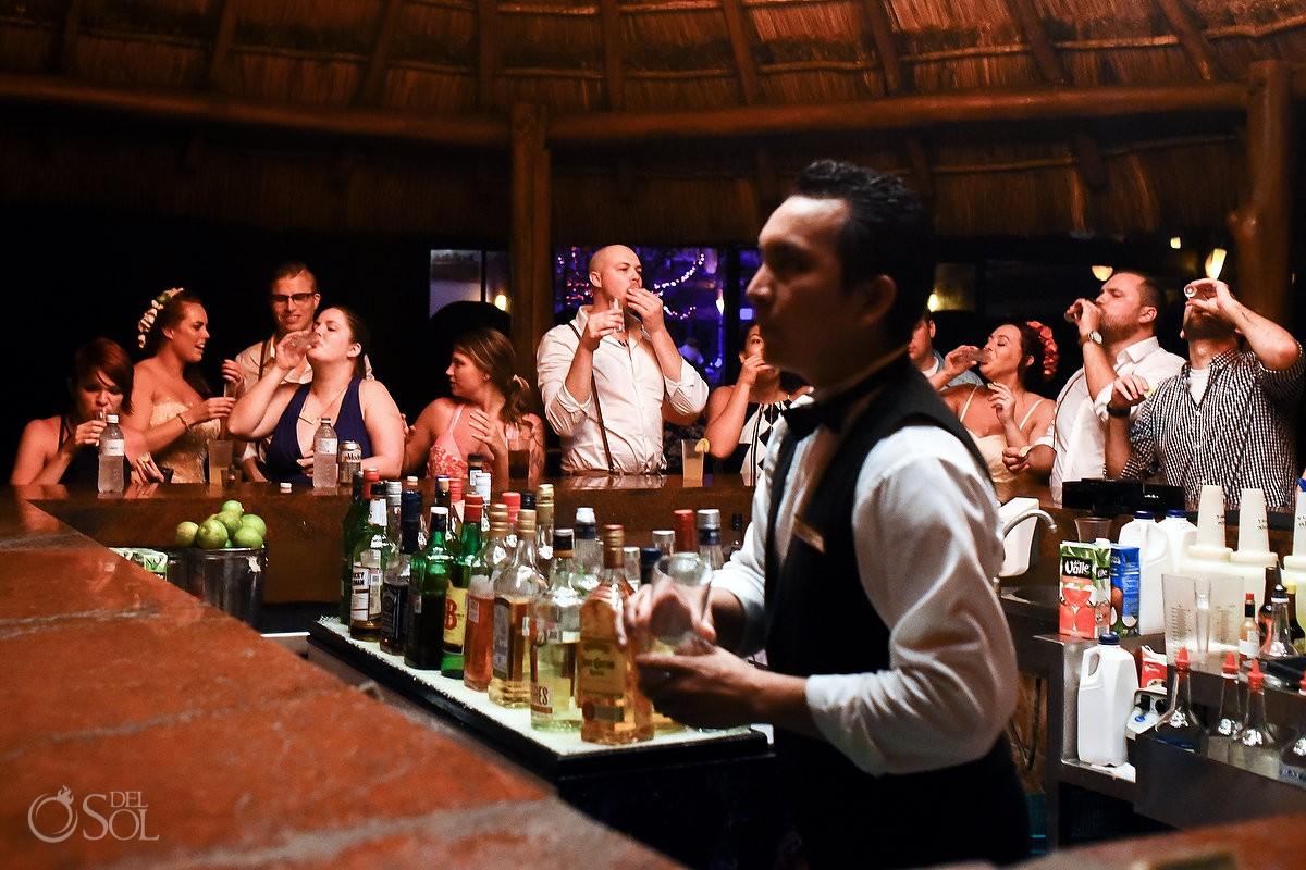 tequila shots bar Dreams Puerto Aventuras El Patio restaurant dinner wedding reception