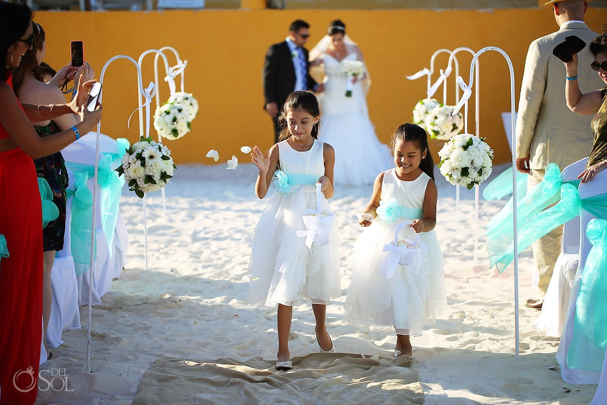 beach wedding cute flower girls throwing dropping petals, Fiesta Americana Condesa, Cancun, Mexico
