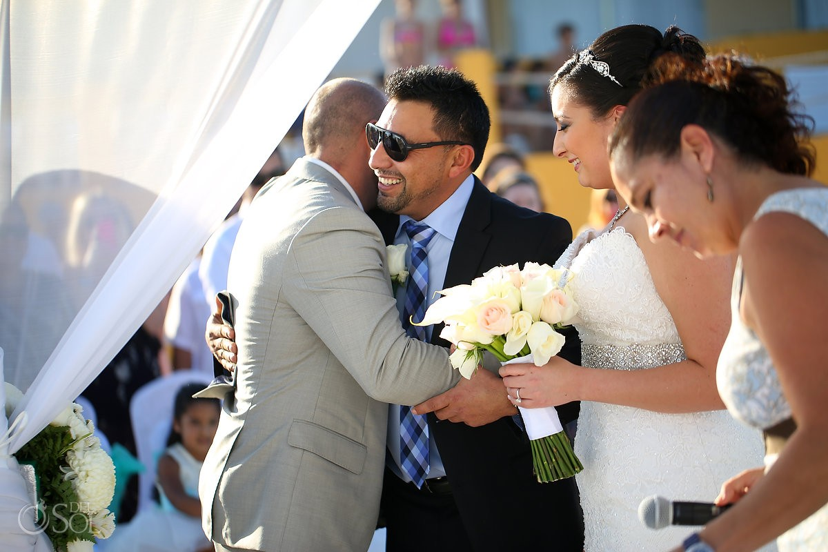 presentation bride, groom father hug, beach Wedding Fiesta Americana Condesa, Cancun, Mexico