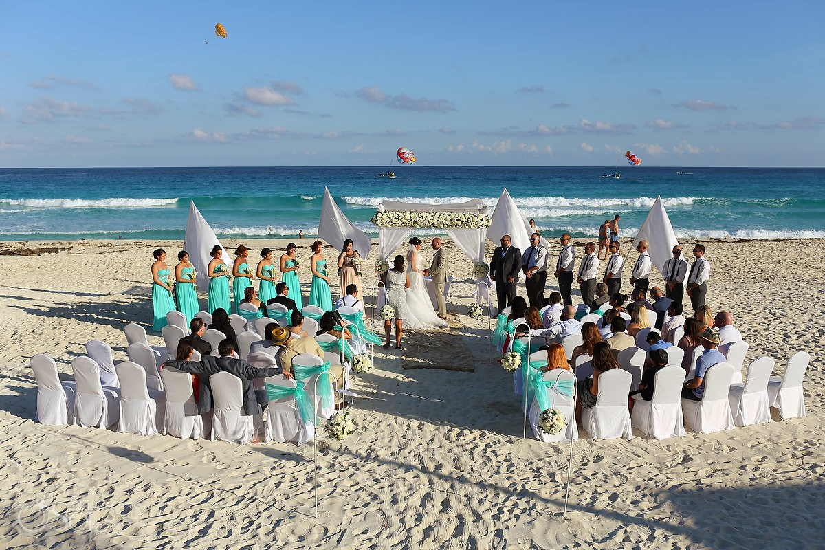 Beautiful caribbean beach Wedding Fiesta Americana Condesa, Cancun, Mexico