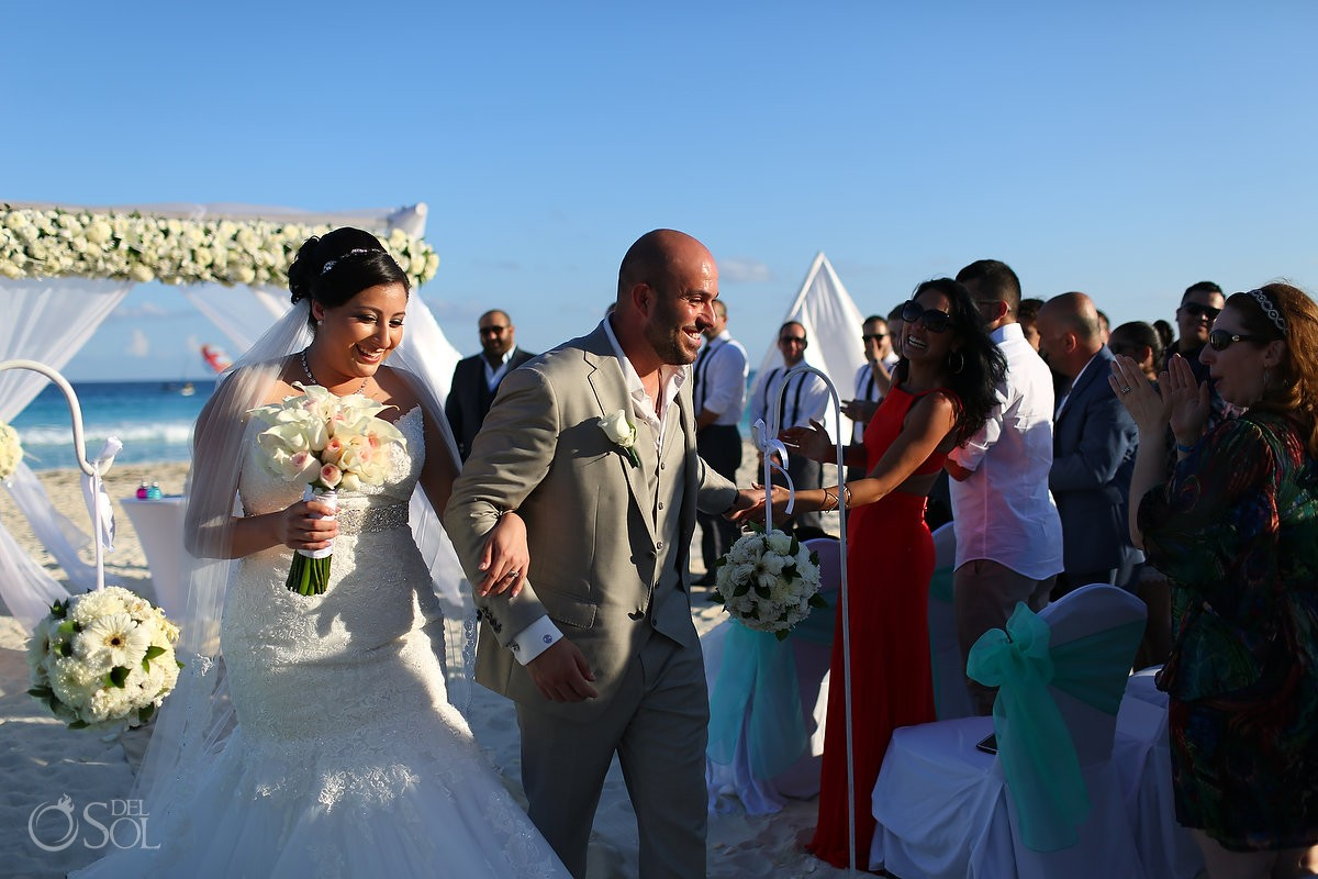 ceremony exit high five groom happy, beach Wedding Fiesta Americana Condesa, Cancun, Mexico