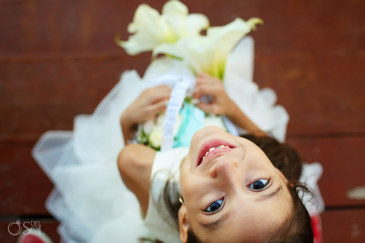cute flower girl holding bouquet, Wedding Fiesta Americana Condesa, Cancun, Mexico