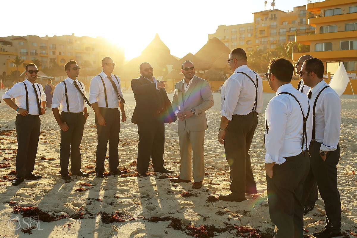 beautiful golden hour sunset light groomsmen bridal party, beach Wedding Fiesta Americana Condesa, Cancun, Mexico