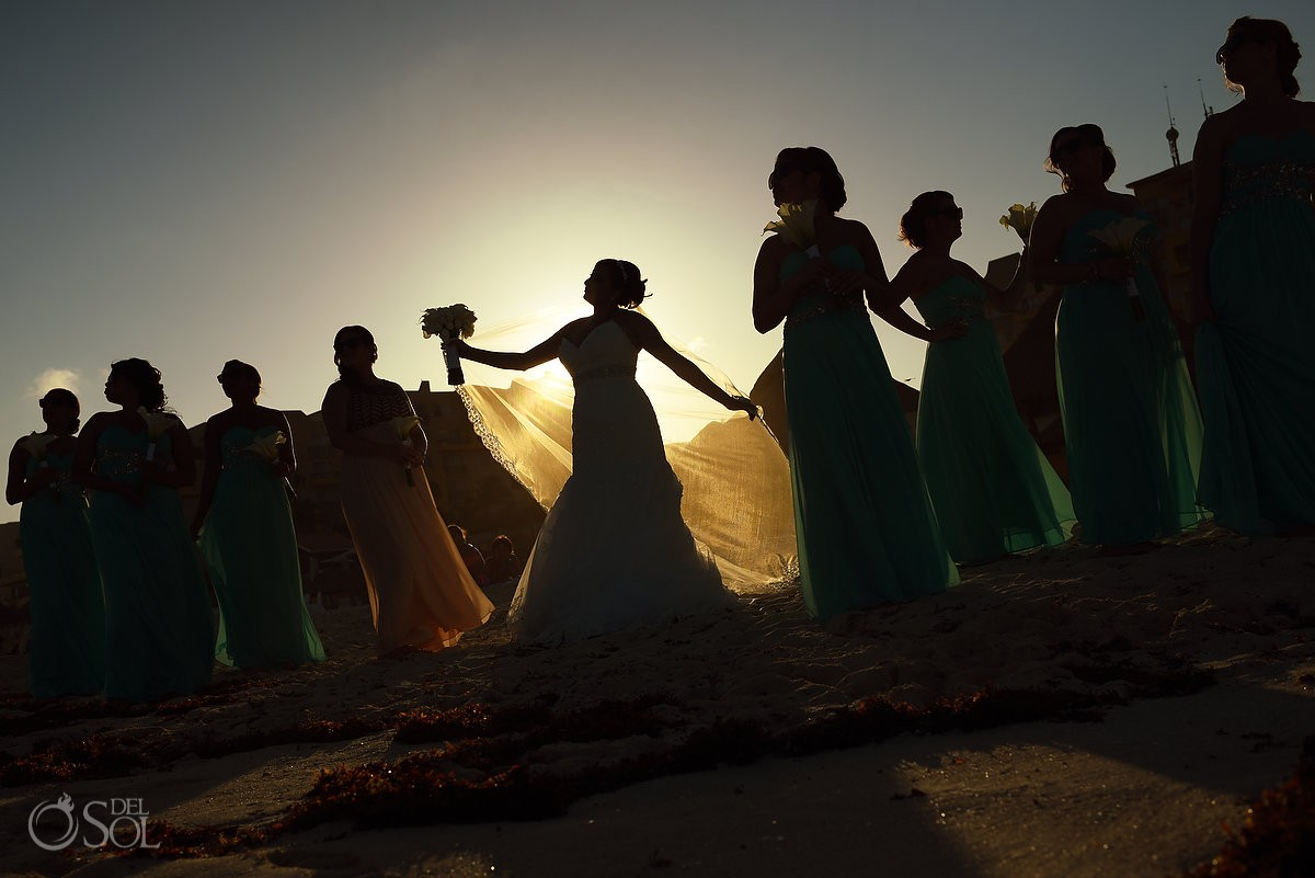 creative bridal party portrait, golden hour sunset bride bridesmaids silhouette, beach Fiesta Americana Condesa, Cancun, Mexico