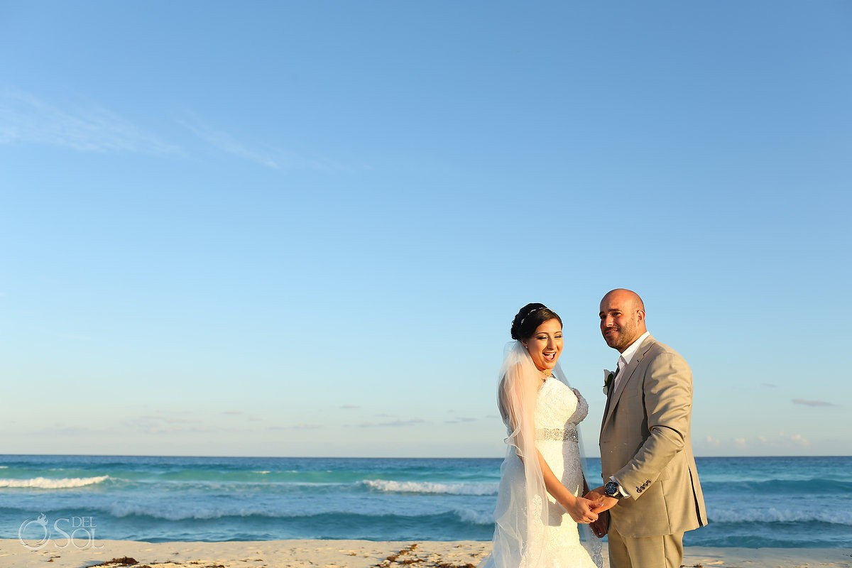 beach wedding portrait bride laugh Wedding Fiesta Americana Condesa, Cancun, Mexico