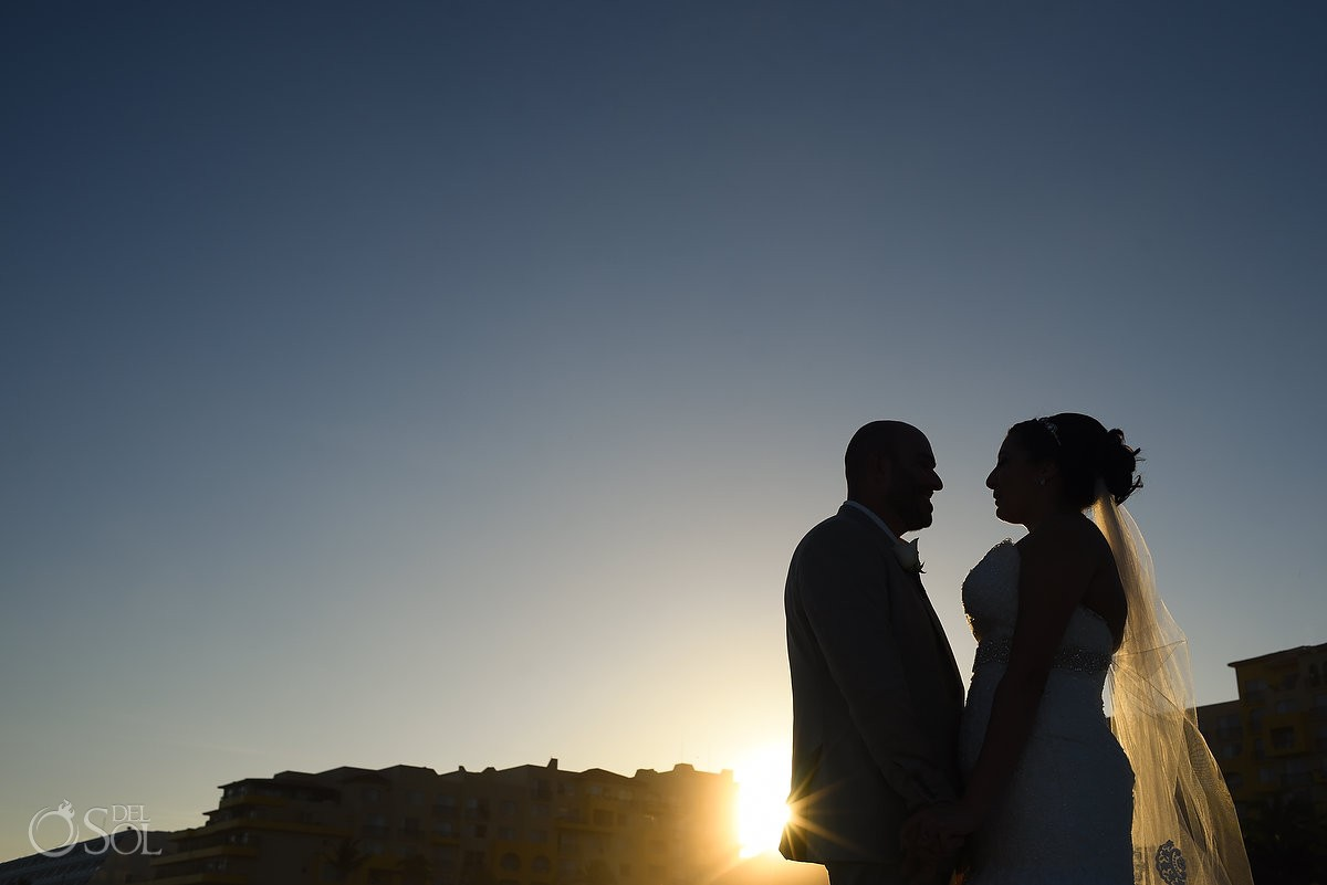 sunset silhouette, bride groom wedding portrait beach Fiesta Americana Condesa, Cancun, Mexico