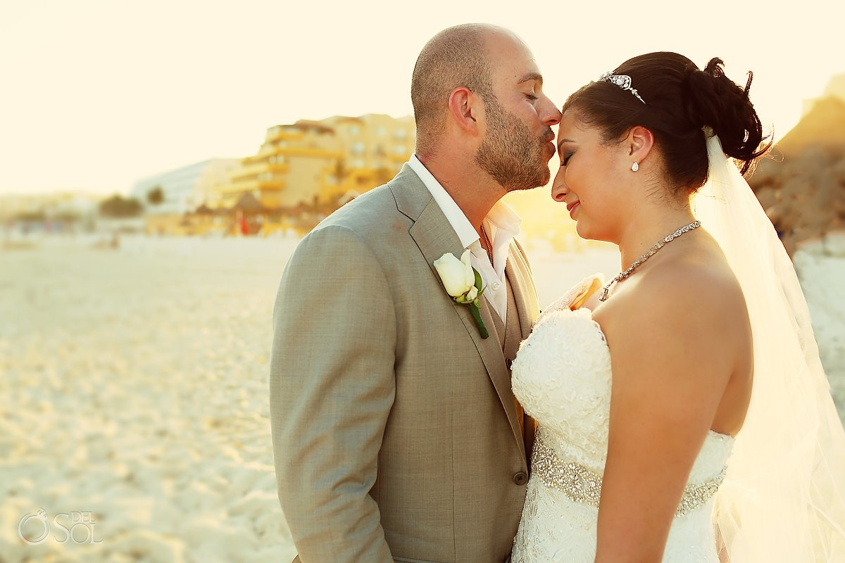 groom kisses bride forehead, golden hour sunset beautiful light, beach Wedding Fiesta Americana Condesa, Cancun, Mexico