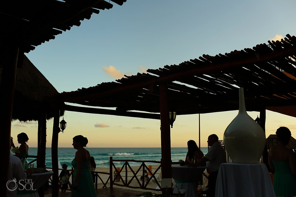 sunset silhouette, beach Wedding Fiesta Americana Condesa, Cancun, Mexico