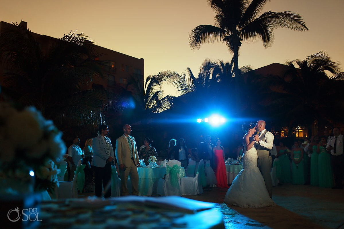 Sunset wedding reception main pool, first dance, Fiesta Americana Condesa Beach Wedding