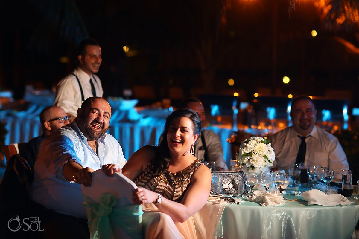 guests laughing, wedding reception main pool Fiesta Americana Condesa, Cancun Mexico