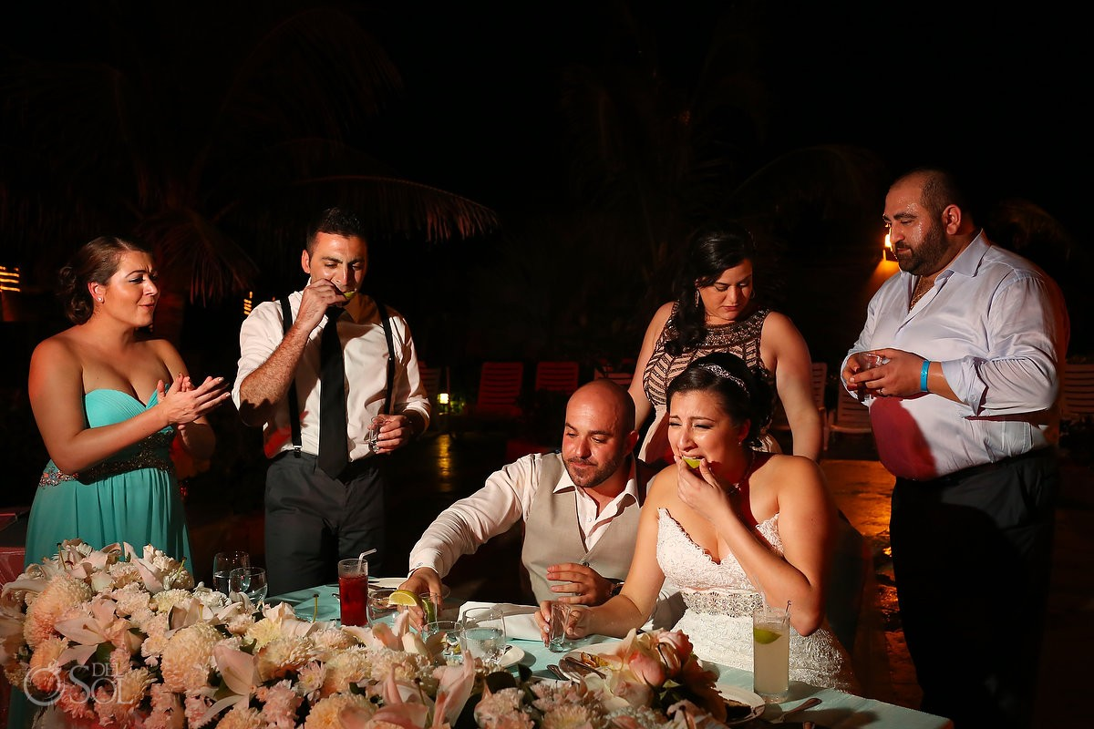 tequila shots funny faces, wedding reception main pool Fiesta Americana Condesa, Cancun Mexico