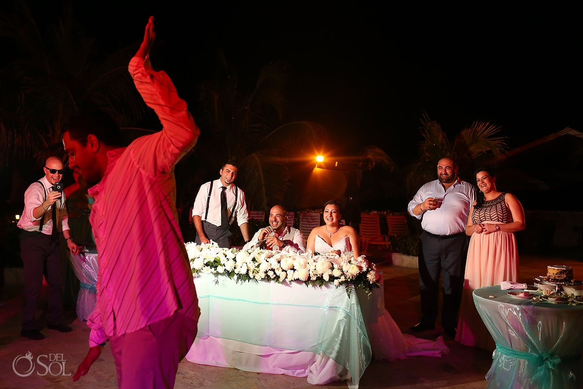 guests dancing Lebanese wedding reception main pool Fiesta Americana Condesa, Cancun Mexico