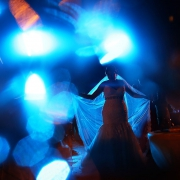 artistic bride silhouette blue sparkle, wedding reception main pool Fiesta Americana Condesa, Cancun Mexico