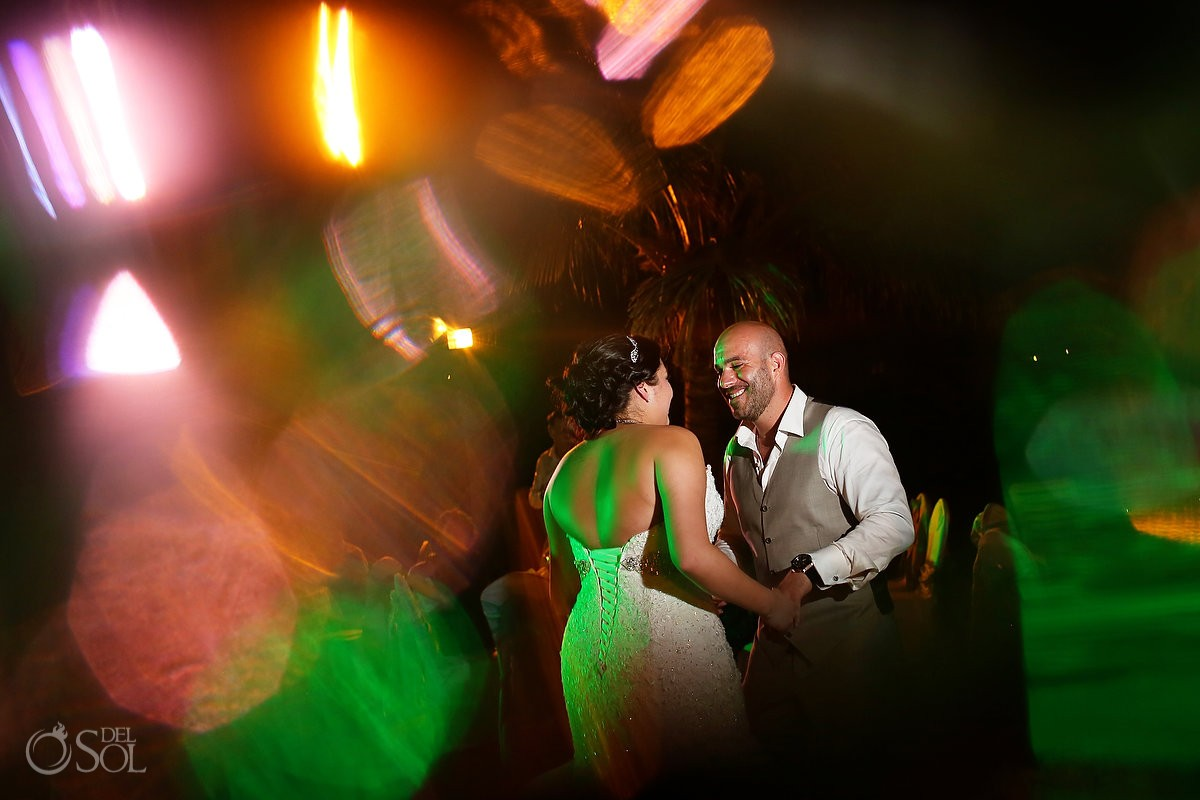 artistic wedding photo bride groom dancing reception main pool Fiesta Americana Condesa, Cancun Mexico