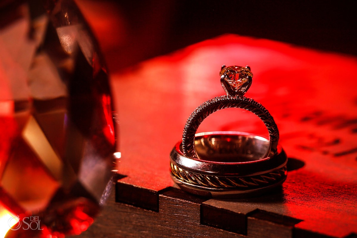 wedding engagement ring macro detail huge diamond red light