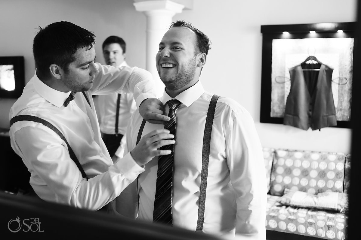 groomsman helping groom tie getting ready black white, Barceló Maya Palace Deluxe