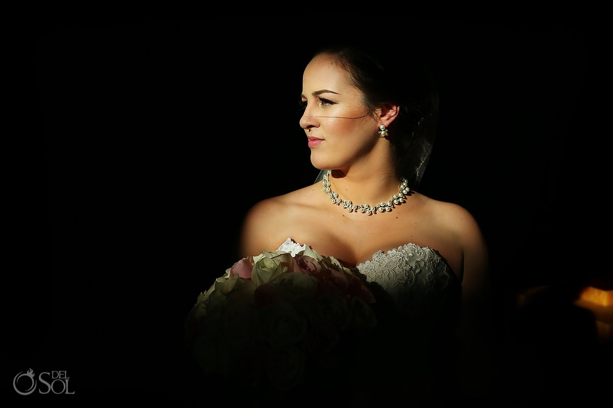 bride portrait beautiful light dark background, Barceló Maya Palace Deluxe wedding