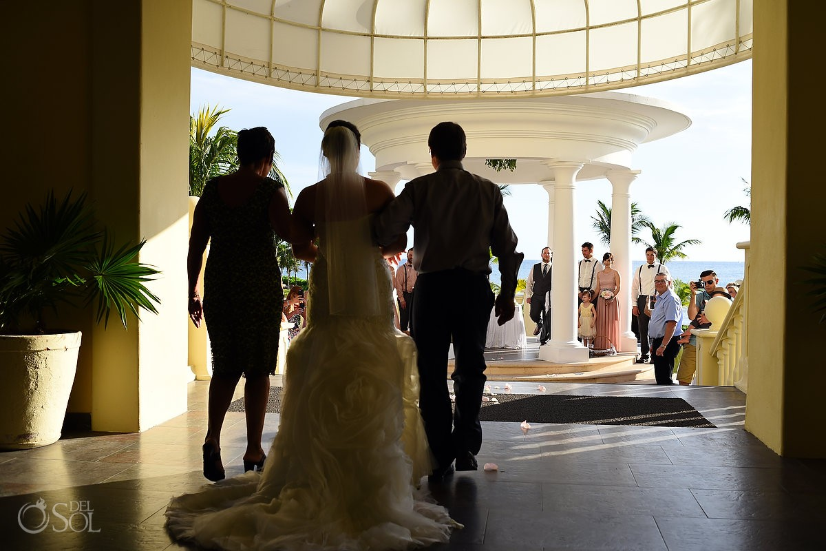 artistic bride entrance first look silhouette, Barceló Maya Palace Deluxe gazebo wedding