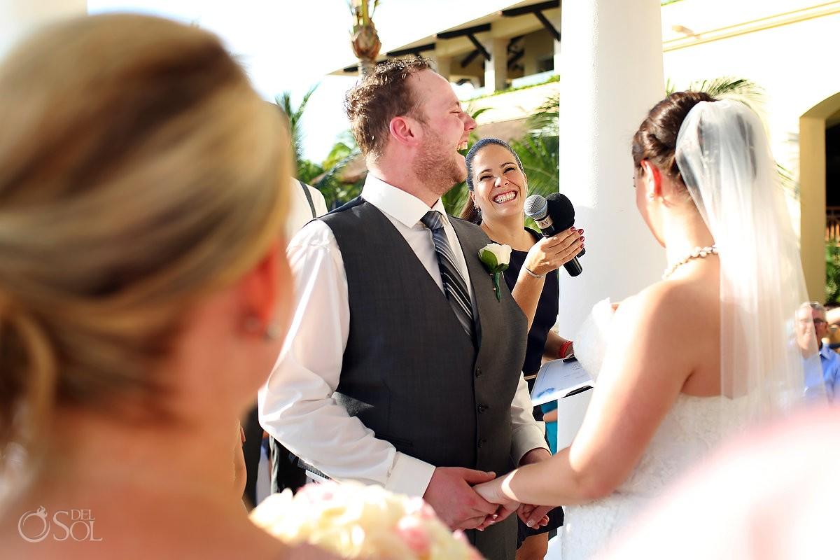groom officiant laughing Barceló Maya Palace Deluxe gazebo wedding, Riviera Maya, Mexico